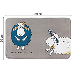 Tatkraft Funny Sheep Alfombrilla de Baño Ultra Suave Microfibra base Antideslizante 50X80cm