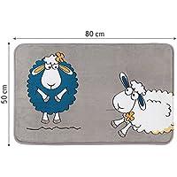Tatkraft Funny Sheep Alfombrilla de baño Ultra suave microfibra antideslizante, microfibra, gris, 50x 80x 1,5cm