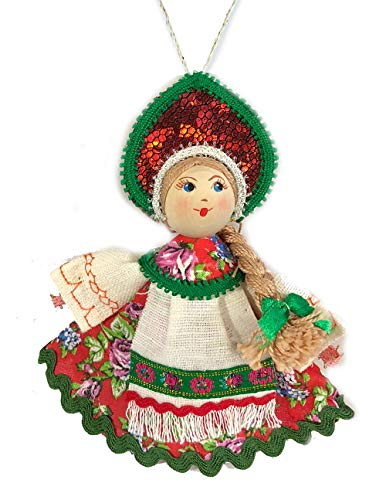 Religious Gifts Rosa Russische Puppe mit kokoschnik Porzellan Face Christmas Ornament 12,7cm - Nativity Tree Christmas Set