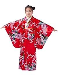 XueXian(TM) Niñas de Flores Pavo Real Fotografía Espectáculo Quimono Estampado Kimono Japonés