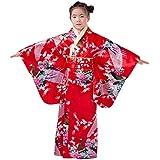 YL Niñas Flores Pavo Real Fotografía Espectáculo Imitación de Seda Quimono Estampado Kimono Japonés Rojo