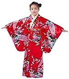 Yue Lian Mädchen Blumen&Pfau Kimono mit Obi-Gürtel Cosplay Yukata Japanisch (Höhe:140-150cm, Rot)