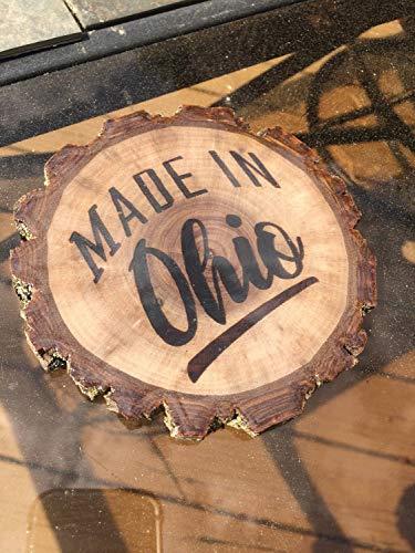 CELYCASY Cellycasy Untersetzer aus Holz in Ohio rustikaler Holzbäume, Rinde glänzend, Schellack, Epoxid-Finish, lebendige Kante, rustikale Ohio (Schellack-finish)
