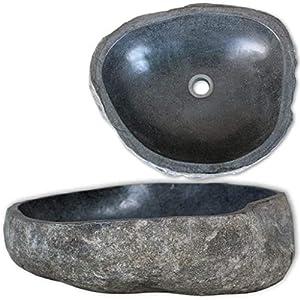 Festnight Lavabo sobre Encimera Ovalado de Piedra de Río, (46-52) x (35-40) x 15 cm