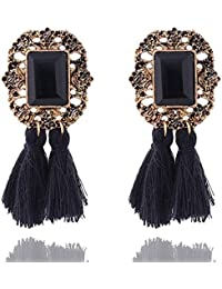 Aashya Mayro Black Semi-Precious Stone Gold Oxidized Thread Tassel Earrings for Women
