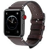 Fullmosa 8 Farben Für Apple Watch Armband 42mm, Wax Series iWatch Leder Band/Armbänder für Apple Watch Series 3, Series 2, Series 1,42mm Uhrenarmband,Kaffeebraun + Dunkelgrau Schnalle