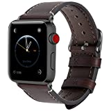 8 Farben Für Apple Watch Armband 42mm(44mmSeries 4),Fullmosa Wax Series iWatch Leder Band/Armbänder für Apple Watch Series 4,Series 3, Series 2, Series 1,42mm(44mm) Uhrenarmband, Kaffeebraun + Dunkelgrau Schnalle