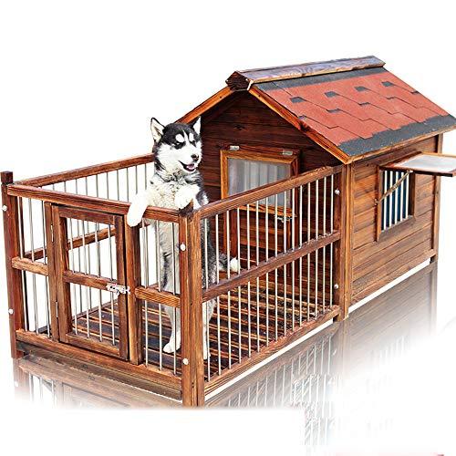 QNMM Große Hundehütte Mit Veranda Deck Zwinger Kisten Aus Massivem Tannenholz Geräumiges Deck Für Sonniges Nickerchen Isoliert Regen Draußen Halten