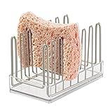 mDesign porte éponge cuisine – porte éponge évier idéal pour le rangement des éponges et grattoirs – porte éponge utilisable dans la salle de bain – couleur : transparent / satin