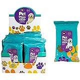 Lot de 50 lingettes hygiéniques pour animal domestique - Lingettes humides pour chien et chat - Pour le toilettage des oreilles/pattes/corps