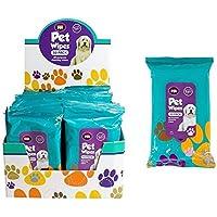 Paquete de 50 toallitas húmedas para limpieza de mascotas; para orejas, patas, cuerpo