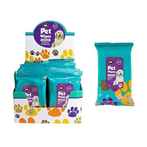 Paquete de 50 toallitas húmedas para limpieza de mascotas; para orejas, patas,...