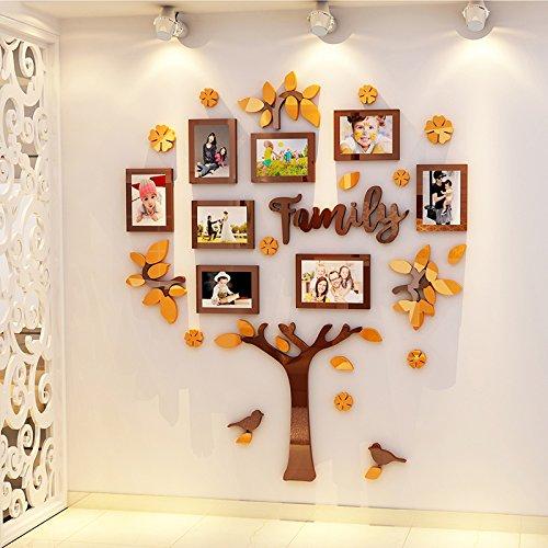 Jwqt albero foto, cornice per foto, decorazione murale, decorazione camera per bambini, ambiente decorazione asilo nido, decorazione murale, aula tridimensionale 3d., albero genealogico 1721 - caffè arancione , grande