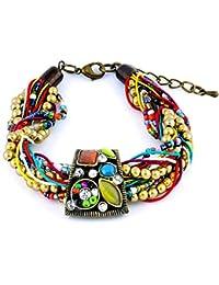 Bracelet multi-rangs - Bijou fantaisie bohème - Mosaïque - Multicolore -  Chic - Cadeau Femme pas cher - Multirangs… a5b94ff674b2