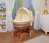 WALDIN Baby Stubenwagen-Set mit Ausstattung,XXL,Bollerwagen,komplett,26 Modelle wählbar,Gestell/Räder lackiert,Stoffe beige/gelb