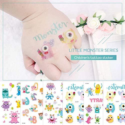 Monster Tattoos Temporäre Tattoos für Kinder Uhr gefälschte Körper Aufkleber für Mädchen Jungen Kinder für Geburtstag Party Favors Supplies (Kinder Für Halloween-sicherheits-regeln)