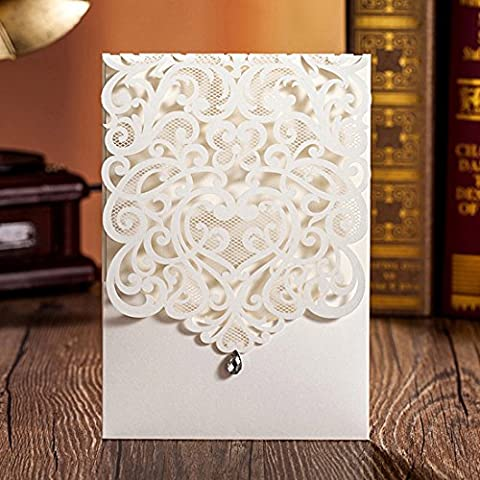 Wishmade Wedding Invitations Cards Kits With Rhinestone 20PCS Ivory Laser Cut Vertical Party Invites Pocket for Engagement Marriage Birthday Bridal Shower Baby Shower