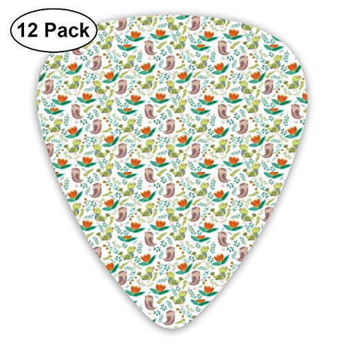 Guitar Picks 12-Pack,Birds With Wings Leaves Cartoon Art Ornamental Nature Revival Green Tones Vibrant -