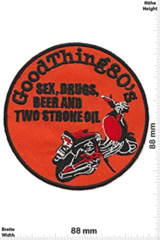 Patches - Vespa - Good Thing 80's - Sex, Drugs, Beer and two Strone Oil - Scooterboy - Motor sports - Sports Motorcycle Vespa - Iron on Patch - Applique embroidery Écusson brodé Costume Cadeau- Give Away