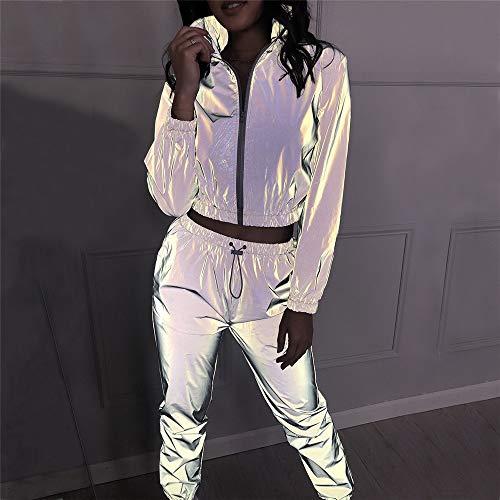 Jxth Reflektierende Clubwear-Jacke für Damen Frauen Sport Freizeit Hip Hop Tops und Hosen Anzüge Shine at Night Hip-Hop-Tanzoutfits (Farbe : Silber, Größe : M) Jacke Und Hose