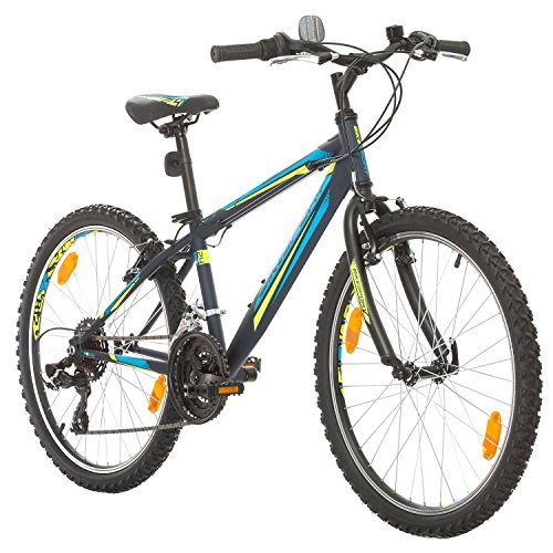 BIKE SPORT LIVE ACTIVE 24 Zoll Bikesport Rocky Jugend Fahrrad jungenfahrrad Kindefahrrad Kinderrad Mädchenfahrrad, Shimano 18 Gang (Dunkelblau)
