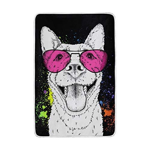 DOSHINE Zwillings-Decke, Tier-Hund in Sonnenbrille, weich, leicht, wärmend, 152,4 x 228,6 cm, für Sofa, Bett, Stuhl, Büro