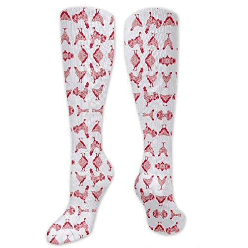 Gped Kniestrümpfe,Socken Chicken Red On White Compression Socks,Knee High Socks,Funny Socks for Women Men - Best Medical,Sports,Running, Nurses,Maternity,Pregnancy,Travel & Flight Socks