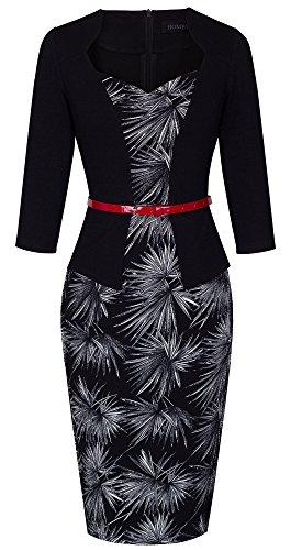 HOMEYEE Frauen-Weinlese -Patchwork-Gürtel Red Retro-Abend-Kleid B328 (EU 38 = Size M, Schwarz + Feuerwerk) Red Abend Langes Kleid