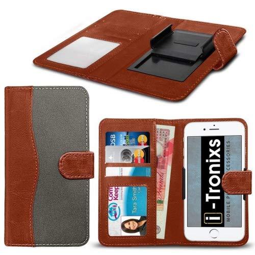 i-Tronixs für Wileyfox Pro Hülle [Universal Book Tasche mit Gewebe, synthetische PU-Leder mit Verstellbarer Hart Flip Case Cover Hülle mit Kredit-/Wileyfox von Pro