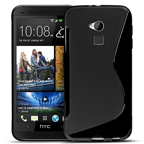 Conie SC6667 S Line Case Kompatibel mit HTC One Max, TPU Smartphone Hülle Transparent Matt rutschfeste Oberfläche für One Max Rückseite Design Schwarz