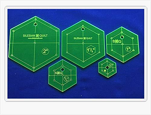 Silesian Quilt Vorlage für Patchwork Set Hexagon - 5 Größen
