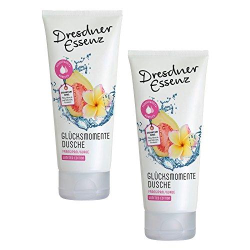 2er Pack Dresdner Essenz Pflegedusche Glücksmomente 2 x 200 ml, Duschcreme, Duschgel, Duschbad, belebend, pH-hautneutral, Schönheitsdusche für Haut und Haar -