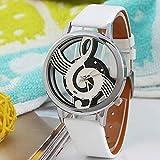 Gemini _ Mall® élégant unisexe Argent Note de musique Motif cadran rond montre bracelet Ornement, blanc, Taille unique