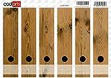 Set 6 Stück Ordner-Etiketten selbstklebend (Ordnerrücken Aufkleber Sticker) braune Bretter