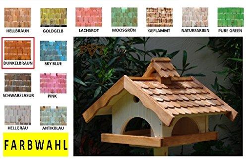 Vogelhaus XXL,MIT Nistkasten,K-VONI5-LOTUS-LEFA-dbraun002,groß,wetterfest,PREMIUM-Qualität,Vogelhaus,mit wasserabweisender LOTUS-BESCHICHTUNG VOGELFUTTERHAUS + Nistkasten 100% KOMBI MIT NISTHILFE für Vögel WETTERFEST, QUALITÄTS-SCHREINERARBEIT-aus 100% Vollholz, Holz Futterhaus für Vögel, MIT FUTTERSCHACHT Futtervorrat, Vogelfutter-Station Farbe braun dunkelbraun schokobraun rustikal klassisch, Ausführung Naturholz MIT TIEFEM WETTERSCHUTZ-DACH für trockenes Futter