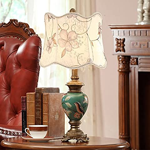 SKC LIGHTING lampe de chevet lampe de table chambre de style européen peints à la main des enfants pastoraux créatifs américains rétro princesse mariés lampe chaude (cote d'efficacité énergétique A +) ( Couleur : Orchid Shade Paragraph )