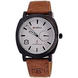 curren Men's Stylish Quartz Analog Faux Leather Wrist Watch