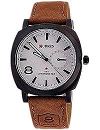 Reloj de pulsera - curren Reloj de pulsera de cuarzo analogico de cuero de imitacion para hombres