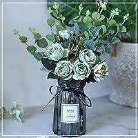 ... Flores Ping-Pong Crisantemo Emulación Decoración De La Decoración De La Sala De Estar De La Flor, Conjunto De Botellas De Vidrio De La Flor Falsa, ...