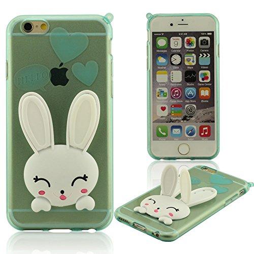 iPhone 6 6S Hülle Mit Strap, Niedlich Weiß Hase ( Ohren Bewegen Kann ), Handy Tasche schutzhülle für iPhone 6 6S 4.7 Zoll ( iPhone 6 Plus 6S Plus 5.5 Zoll Nicht Passen ), Flexibel Weiche TPU Material  Cyan
