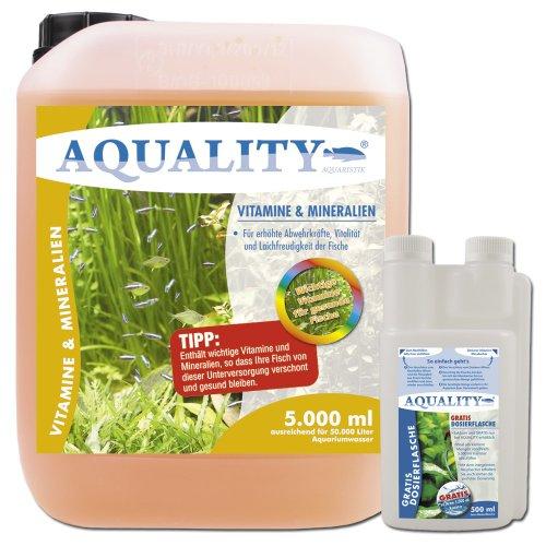 AQUALITY Vitamine & Mineralien (GRATIS Lieferung innerhalb Deutschlands - Enthält wichtige Fischvitamine für erhöhte Abwehrkräfte, Vitalität und Laichfreudigkeit der Fische im Aquarium), Inhalt:5 Liter