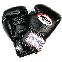 Twins Leder Boxhandschuhe mit Langen Klettverschluss BG-N Schwarz 8-20 oz