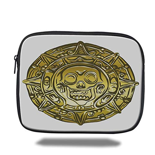Tablet Bag for Ipad air 2/3/4/mini 9.7 inch,Pirate,Gold Money Pirate Coin Medallion Scary Skull Figure Ancient Antique Currency Print Decorative,Gold White -