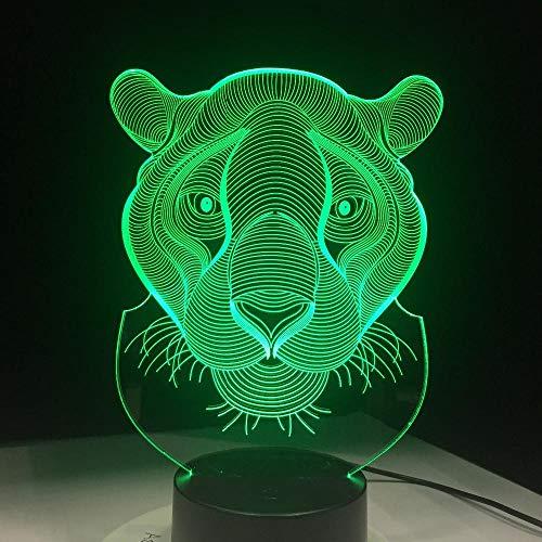 XXXCH Jahr Weihnachtsgeschenk Led Licht Neuheit Tiger Lion Shaped Bunte Hauptbeleuchtung 3D Tischlampe Usb Nightlight Luces Navidad - Tiger Neuheit
