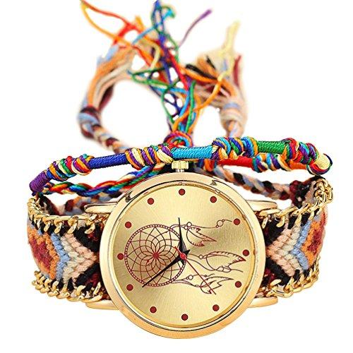 TOOGOO Reloj de Pulsera de Correa Trenzada Hecha de mano Atrapasuenos Amistad Reloj de Cuarzo para Mujer - Color 4