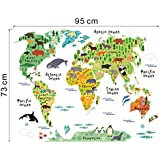 Voberry® New Fashion Animal World Map Removable Decal Art Mural Home Decor Wall Stickers