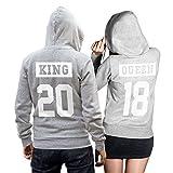 King Queen Pullover Pärchen Set invertiert - 2 Hoodies im Set - Pullover Pulli Liebe Love Pärchen Couple - Grau-Weiss (King L + Queen M)
