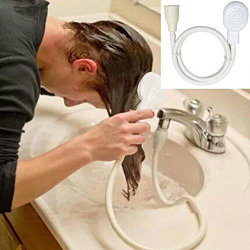 sunnymi Universal Duschkopf Shower Head,Gilt Für Menschen und Haustiere,Single Wide Tap Bad Waschbecken Spray Schlauch Push On Mixer Friseur Pet Sprinkler (Schlauchlänge 1,1 m) Tube-subwoofer-systeme