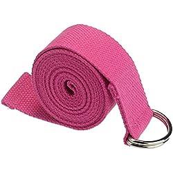 Yoga Cinturon - SODIAL(R)moda accesorio de Yoga Cintura Pierna fitness ajustable 180CM Correa entrenamiento estiramiento D-Ring algodon hebilla de cinturon rosa