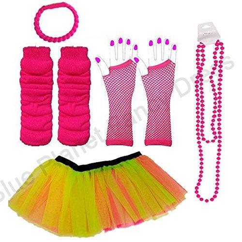 Blue Planet Neon Tutu, Gloves, Legwarmers, plus Beads & FREE Bracelet (Plus size UK 16-24, Neon Rainbow)